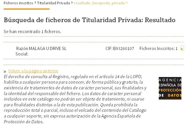 Agencia Española de Protección de Datos MALAGA U DRIVE